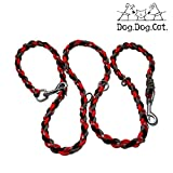 Paracord Double Ended Versatile Hands-Free Dog Walking Training Leash (6 Foot Adjustable, Orange/Red Reflective)