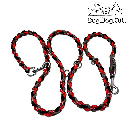 Paracord Double Ended Versatile Hands-Free Dog Walking Training Leash (6 Foot Adjustable, Orange/Red Reflective) by Dog and Cat