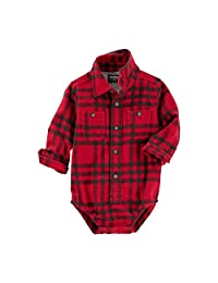 OshKosh B'Gosh Baby Boys' Long Sleeve Button Front Flannel Bodysuit