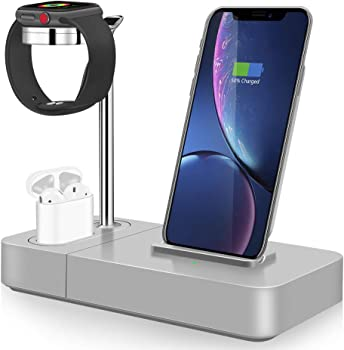 TGHUNAG 3-in-1 Wireless Charger Stand (Silver)