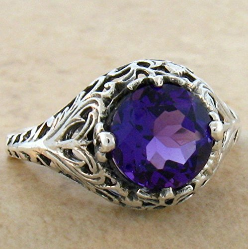 LAB Amethyst 925 Sterling Silver Victorian Antique Design Ring SZ 8.75 KN-4362