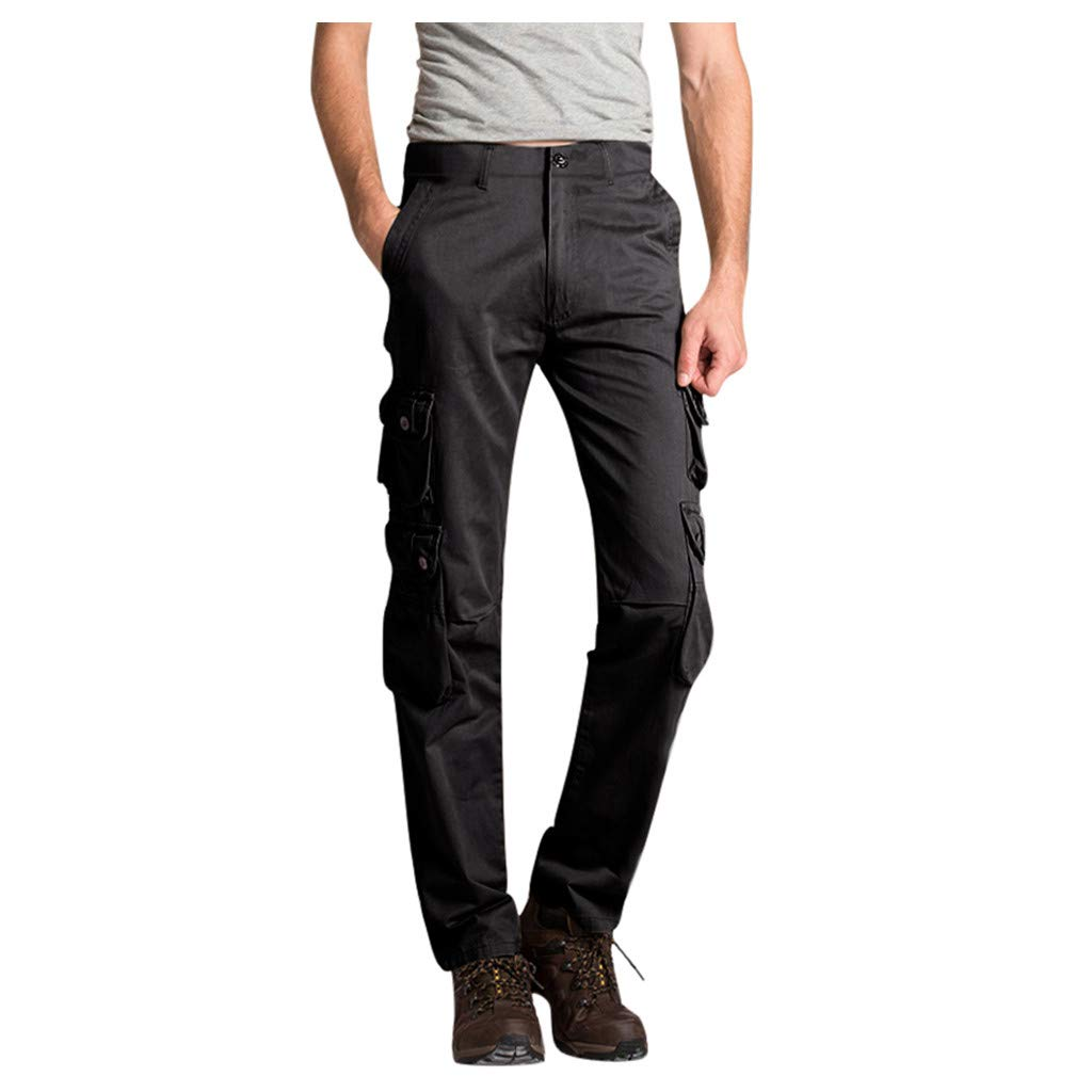 Mens Hiking Cargo Pants | Men Straight Leg Tactical Combat Army Work Relaxed Fit Trousers | Causal Outdoor Workout Sweatpants