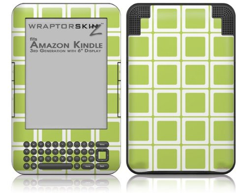 Squared Sage Green - Decal Style Skin fits Amazon Kindle 3 Keyboard (with 6 inch display)