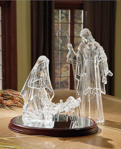 ICY Crystal Illuminated Religious Holy Family Christmas Nativity Figure 16