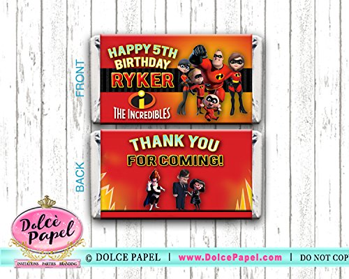 10 The Incredibles Birthday Party Favors Mini Hershey Candy Bar Wrappers