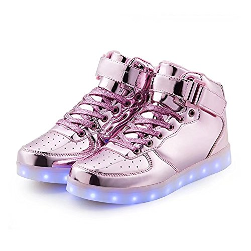 WONZOM FASHION High Top Velcro LED Light Up Shoes 7 Colors USB Flashing Rechargeable Walking Sneakers For Kids Boots With Remote Control(Toddler/Little Kids/Big Kids)-34(Shining Pink) by WONZOM FASHION (Image #2)