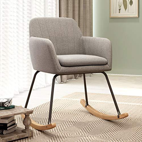 Durian Bruna Grey Fabric Rocking Chair
