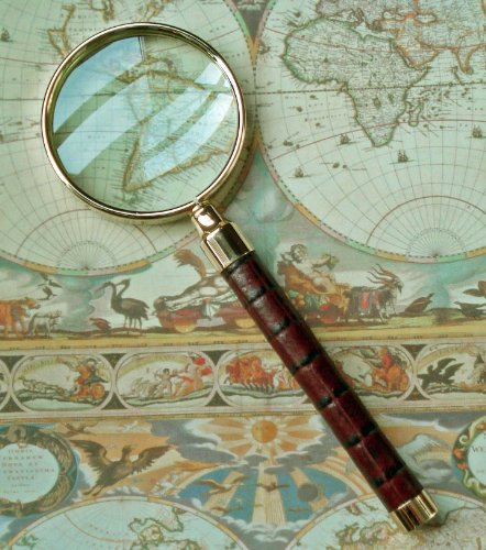 KensingtonRow Home Collection Magnifying Glasses - Westminster Magnifying Glass - Brown Croco Leather - Desk Accessory