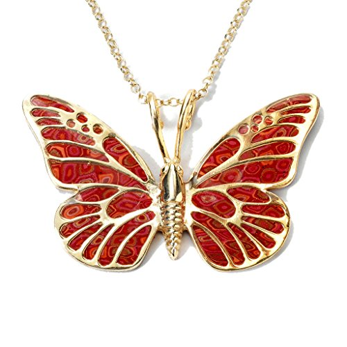 Gold Plated Sterling Silver Butterfly Necklace Pendant Red Polymer Clay Jewelry, 16.5