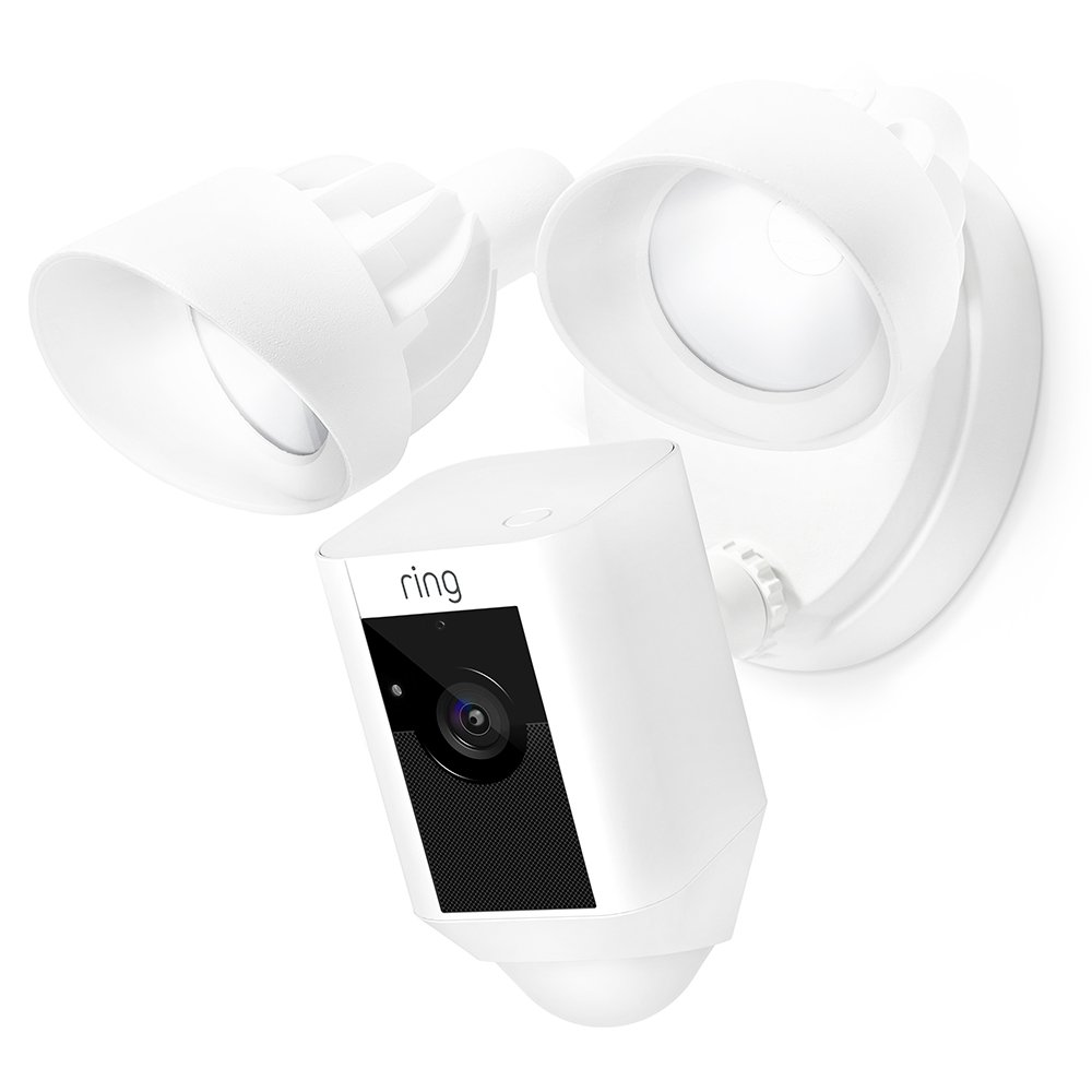 Ring Floodlight Camera Motion-Activated HD Security Cam Two-Way Talk and Siren Alarm, White by Ring