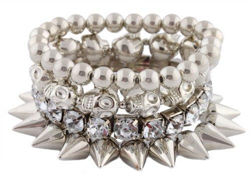 Silvertone Spikes, Skulls, Rhinestones, Beaded Stretch Bundle Bracelet