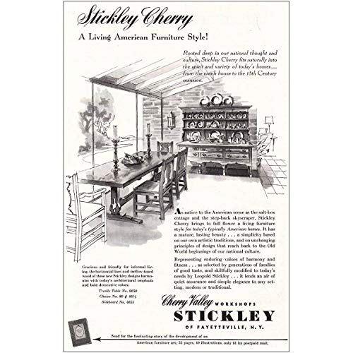 (RelicPaper 1953 Stickley Cherry: Living American Furniture Style, Stickley Print Ad)