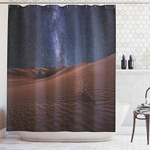 Mars Curtain - Ambesonne Space Shower Curtain, Life on Mars Themed Surreal Surface of Gobi Desert Dune Oasis Lunar Adventure Photo, Fabric Bathroom Decor Set with Hooks, 70 Inches, Brown Blue
