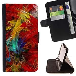 BullDog Case - FOR/Sony Xperia M2 / - / paint brush colorful artwork oil modern /- Monedero de cuero de la PU Llevar cubierta de la caja con el ID Credit Card Slots Flip funda de cuer