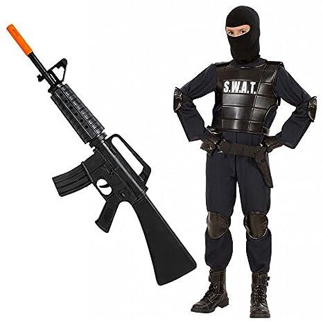 comprare risparmia fino al 60% 100% genuino COSTUME Agente SWAT + FUCILE mitra M16 per bambino - Polizia corpi speciali  (Taglia 5-7 Anni)