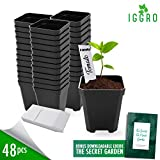 48 pcs Plastic Nursery Pots for Plants 2.75'' Square x 3.25'' Seed Starting/Transplant Plant Containers for Tomatoes Basil Peppers Mint with 48 Label Markers Drain Holes for Germination Last for Years