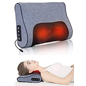 Boriwat Neck Massager Pillow with Heat, Shiatsu Kneading Back Massage Pillow for Muscle Pain Relief, Relaxation Gifts…