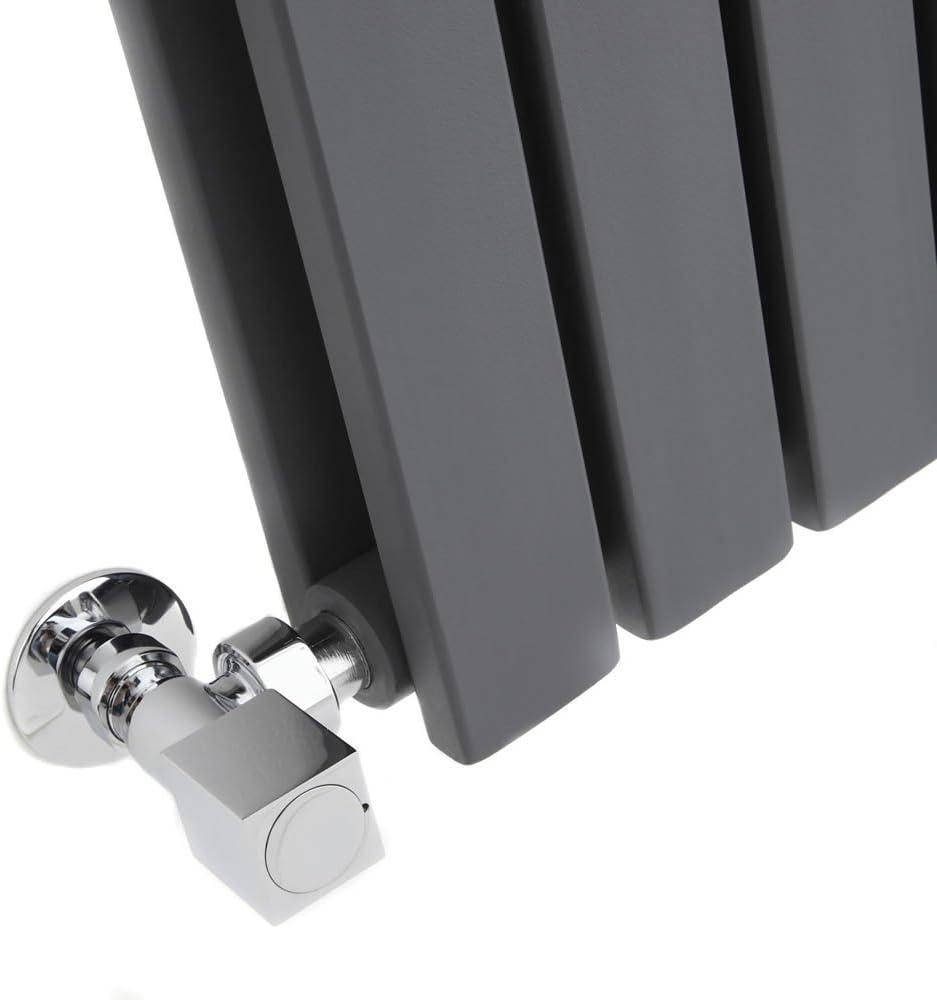 Horizontal Slim Column Flat Panel Designer Radiator Anthracite Milano Alpha 635 x 840 mm Single Panel