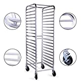 20 Tier Aluminum Bakery Rack Commercial Bun Sheet Pan Rolling Kitchen Trolley Storage