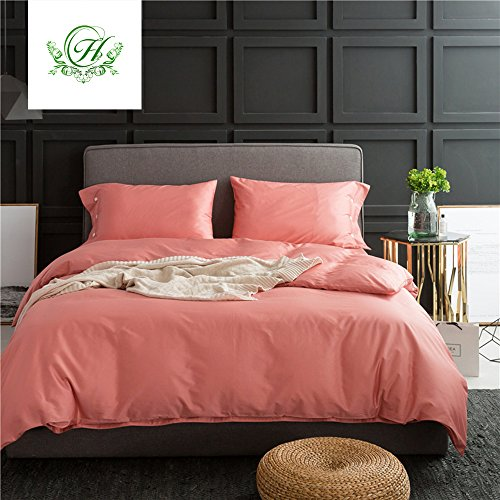Solid Coral Duvet Cover Queen Luxury Teens Adults Bedding Sets Hotel Duvet Cover Set with Buttons Reversible Soft and Warm Cotton Comforter Quilt Cover with Pillow Cases (Coral Colored Pillows)