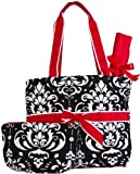 Quilted Damask Print 3 pc Set Diaper Bag w/ Changing Pad and Cosmetic Bag (Black and White w/ Red Trim), Bags Central