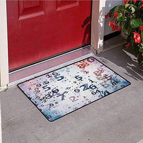 Gloria Johnson Abstract Front Door mat Carpet Digital Code Numbers Computer Database Science Information Technology Themed Art Machine Washable Door mat W15.7 x L23.6 Inch Teal Black