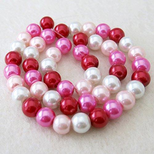 Beading Station Strands of 50 Pcs Stylish Mix Satin Glass Pearl Beads 8mm (Romantic Mix)