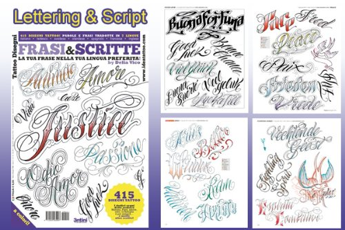 LETTERING & SCRIPT Writing Design Tattoo Flash Book 66-pages (Personal Tattoo Design)
