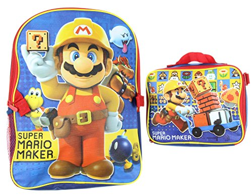 Super Mario Maker Backpack with Lunch Tote - Wii Games For 7 Year Old Boys