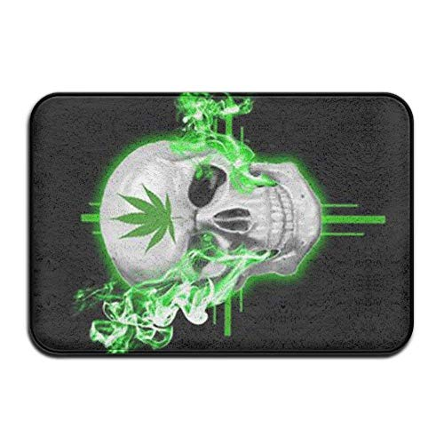 (Doormats Cover Rug Green Weed Smocking Skeleton Durable Non Skid Outdoor Indoor Front Entrance Rug Floor Mats Shoe Scraper Door)
