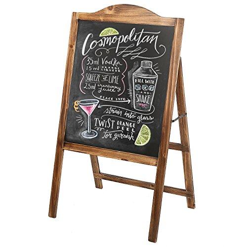 Natural Wood A-Frame Erasable Chalkboard Easel Sign, Freestanding Sidewalk Menu Board