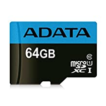 ADATA Premier 64GB microSDHC/SDXC UHS-I Class 10 Memory Card with Adapter Read up to 85 MB/s (AUSDX64GUICL1085-RA1)