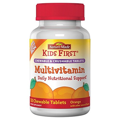 Nature Made Kids First Multivitamin Chewable and Crushable Tablets, Orange, 120 Tablets (Pack of 2)