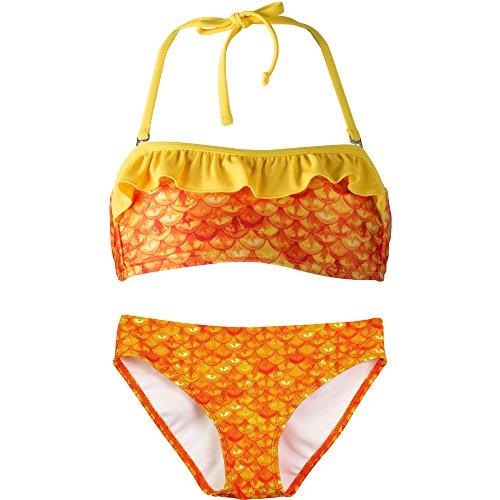 Bandeau Bikini Set, Tropical Sunrise Top, Tropical Sunrise Bottom, Girl's Small