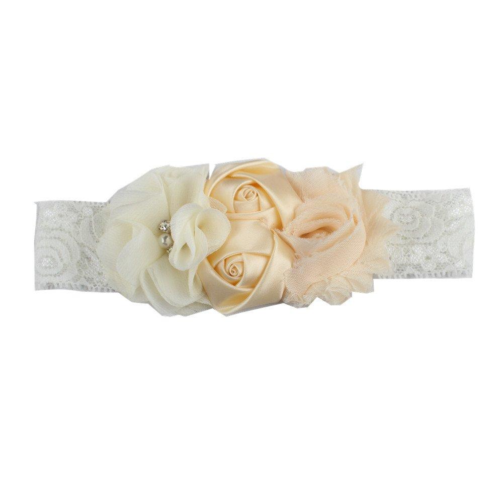 para el pelo 1 diadema de dise/ño c/ómodo para beb/é de gasa adorable encaje de Jiont blanco blanco 18 * 4 cm flores