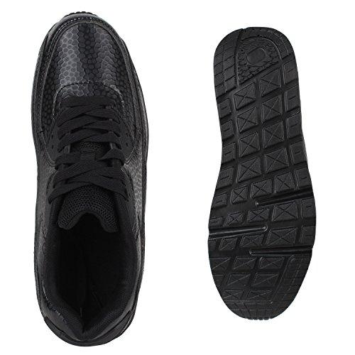 Stiefelparadies Damen Herren Unisex Sportschuhe Runners Sneakers Laufschuhe Trendfarben Flandell Schwarz Snake Total