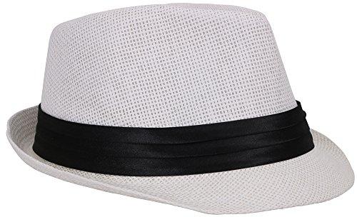 Simplicity Summer Sun Short Brim Straw Fedora Hat, 756_White SM