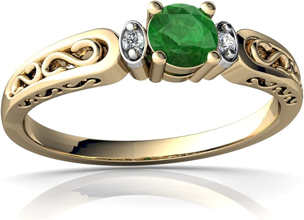 B00027I2YW 14kt Gold Emerald and Diamond 4mm Round filligree Scroll Ring 51szTRYRpoL