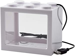 OMEM USB Mini Fish Tank, Desktop Micro-Landscape LED Fish Tank, Aquarium Kit, Building Blocks Superimposed Fish Tank