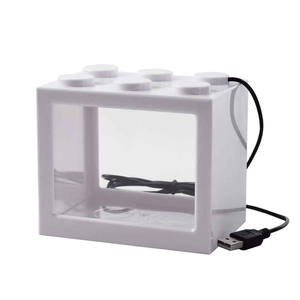 Omem USB Mini Fish Tank, desktop micro-landscape LED Fish Tank, kit di costruzione, blocchi sovrapposta acquario Fish Tank