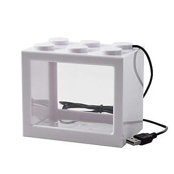 OMEM USB Mini Fish Tank, Micro Tanque de Escritorio LED Fish Tank, Kit de Acuario, Bloques de construcción Tanque de Peces superpuestos (1-W): Amazon.es: ...