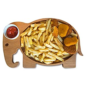 Fish and Chips Serving Platter | Organic Wooden, Dip Sauce Porcelain Bowl | Snack Tray, Appetizer Bowl, Serve Dish | Decorative, Home Kitchen Accessory | For Kids, Todlers, Birthday Party