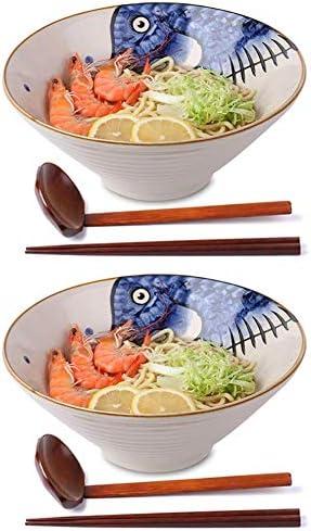 ZYLE 6 pieces Japanese Style Ceramic Soup Spoon Retro Ramen Bowl Soup Spoon Rice Spoon Creative Spoon Blue
