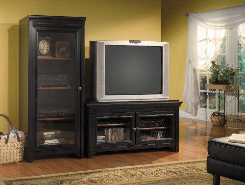 Bush Furniture Stanford Audio Cabinet, Antique Black/Hansen Cherry