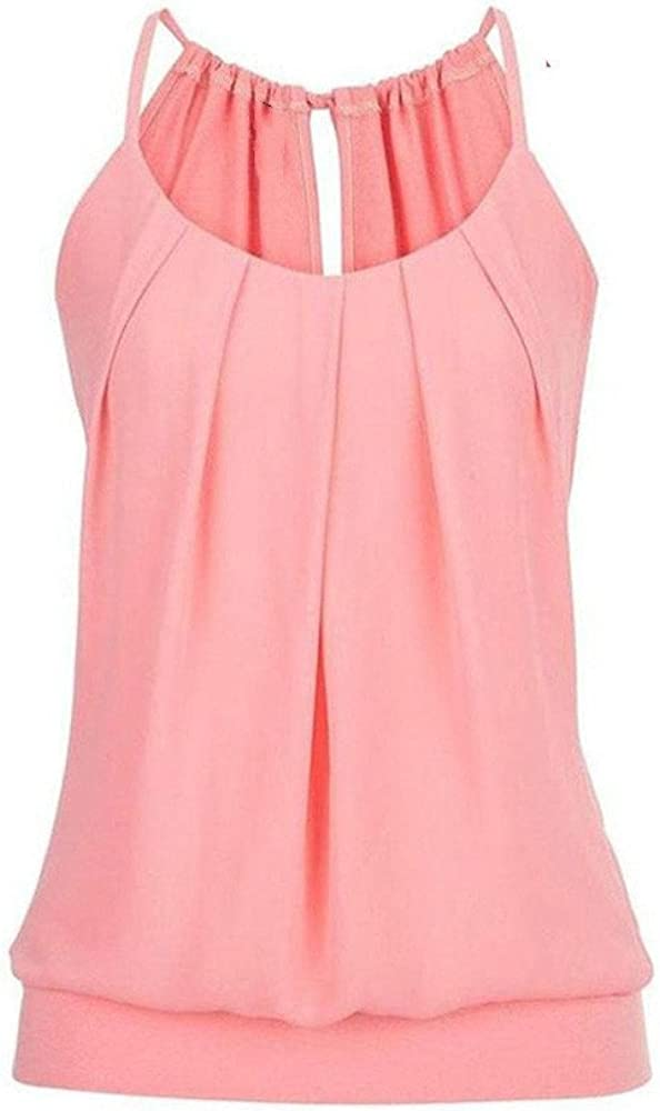 YANYUN Sexy Women Cami Tank Tops Fashion Basic Sleeveless Tshirts Summer Loose Wrinkled O Neck Baggy Sport Casual Blouse Vest