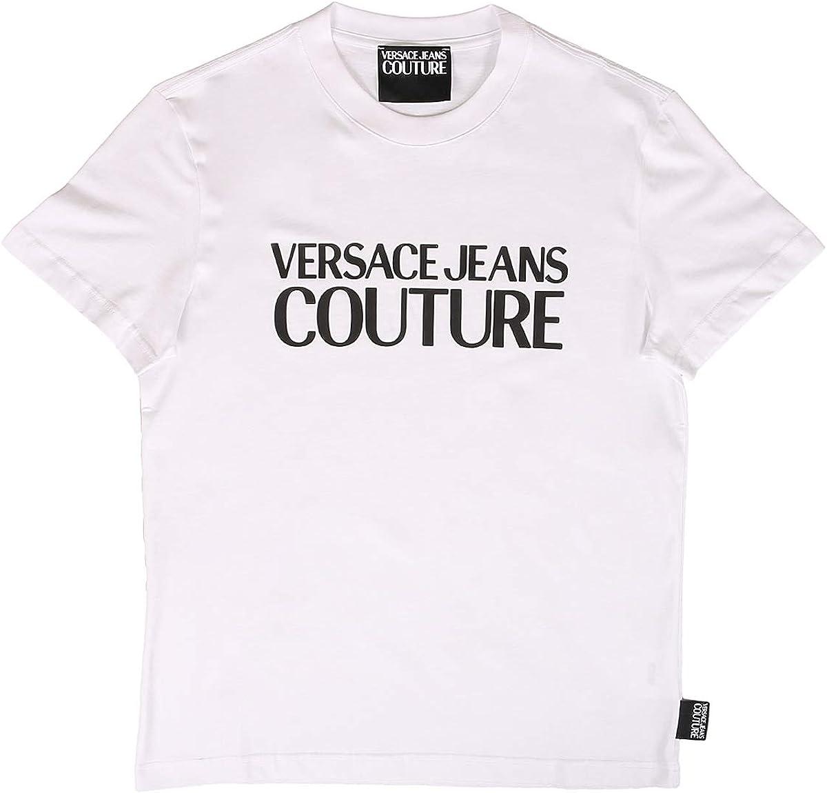 VERSACE JEANS COUTURE Hombre Camiseta Logo Bianco