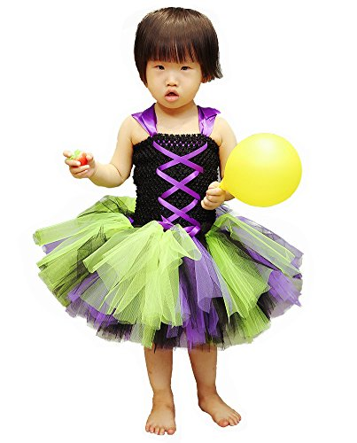 Tutu Dreams Party Dress up Costume for Girls Lime Green and Purple (Dream Girl Witch Costume)