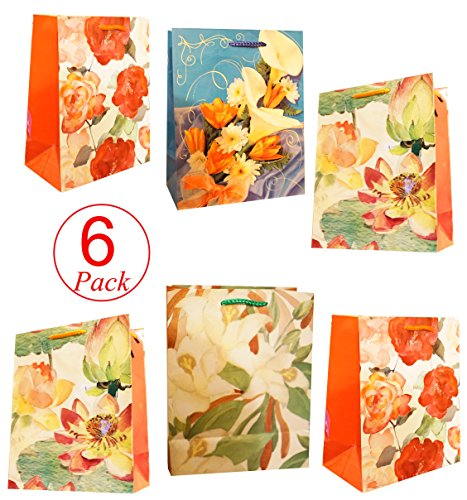 Gift Bag Colorful Floral Assortment Gusset Stand up Bag with Handles Assorted Christmas Gift Bag (Set of 6-Random Colors) 9 x 7 x 4 (Floral Gift Bags)