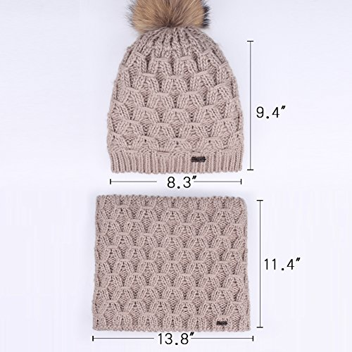 Womens Winter Hat and Scarf Set for Girls Knitted Beanie Hat Pom Pom Hats Infinity Scarf by FURTALK (Image #4)