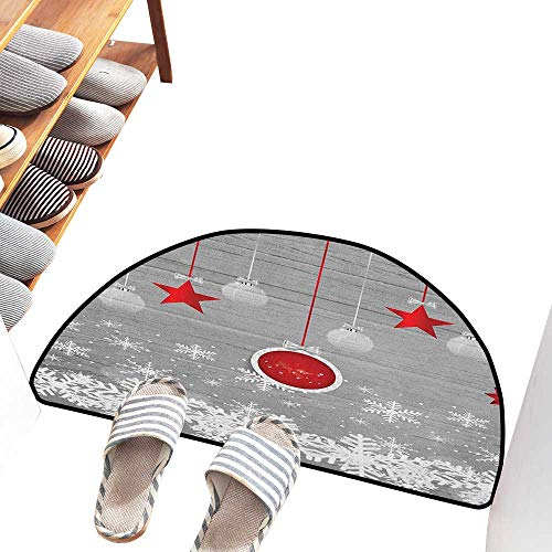 Axbkl Printed Door mat Christmas Traditional Celebration Theme with Pendant Stars Baubles Ornate Snowflakes Easy to Clean W36 xL24 Grey Red White